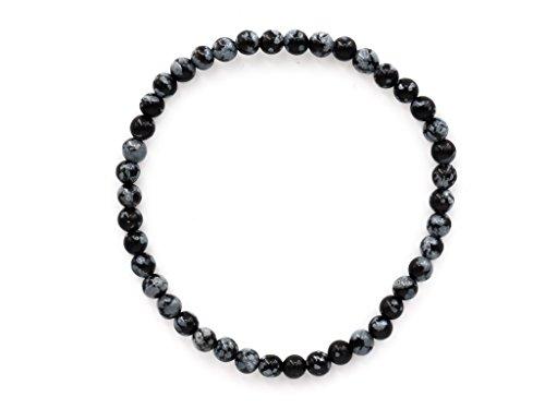 Taddart Minerals – Schwarzes Armband aus dem natürlichen Edelstein Schneeflocken-Obsidian mit 4 mm Kugeln auf elastischem Nylonfaden aufgezogen - handgefertigt