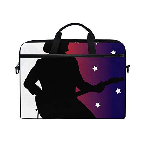 FOURFOOL 15-15.6 Inch Bolsa de Ordenador,Clip Art Ilustración Country Music Guitarra,Nuevo Patrón de impresión portátil Hombro Bolsa maletín portátil de Ordenador portátil Caso