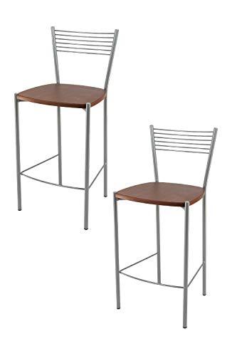 Tommychairs - Set 2 sgabelli alti modello Elegance per cucina e bar, struttura in acciaio verniciata colore alluminio e seduta in legno colore ciliegio