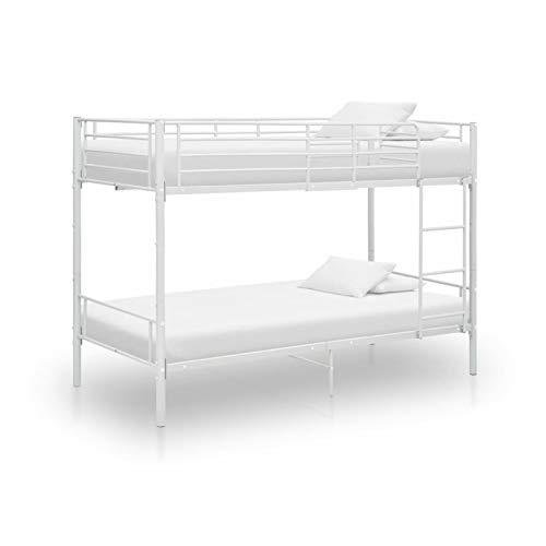 Tidyard Etagenbett Kinderbett Hochbett Metallbett Bett Stockbett Bettgestell Doppelstockbett Weiß Metall 90×200 cm