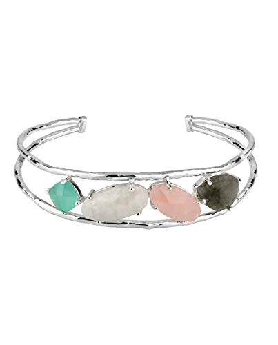 VIDAL & VIDAL Pulsera rígida Plateada Ajustable con Cristal y Piedras de Colores Pastel