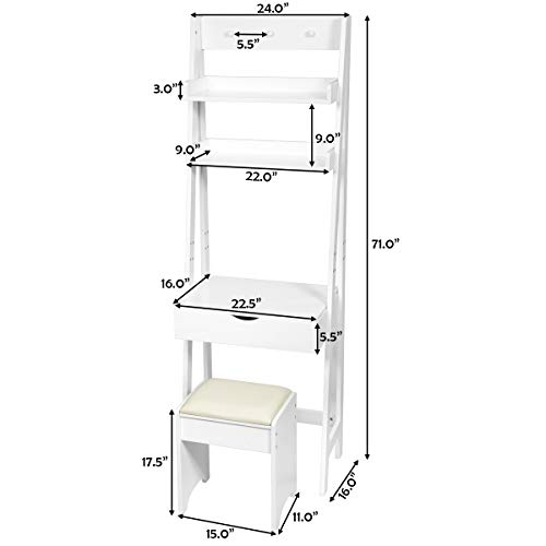 CHARMAID 3-in-1 Vanity Set with Flip Top Mirror, 6 Makeup Organizers, 2 Storage Shelves, 3 Hat Hooks Vanity Table Desk Bookshelf with Cushioned Stool, Ladder Desk Makeup Vanity for Small Spaces, White