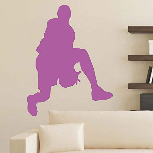 Pegatinas de pared de baloncesto papel tapiz de vinilo extraíble mural sala de niños decoración de sala de deportes ~ 1 46 * 59 cm