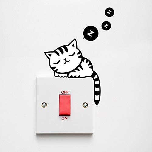 Etiqueta engomada de la pared del interruptor del enchufe del sueño del gato negro encantador extraíble de dibujos animados calcomanía de vinilo para decoración del hogar calcomanías en la pared