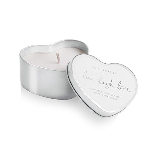 Katie Loxton–Silber Herz Zinn Kerze–Live Laugh Love–Grapefruit und rosa Pfingstrose