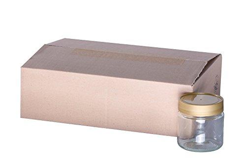 Imkereibedarf Florian Schmidt 120 x Neutrales Schraubglas 250g Honnigglas mit goldenem Deckel ohne Etikett Honig Neutralglas