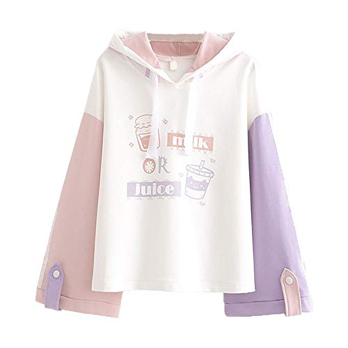 Lolita Casual Hoodies Teen Girls Patchwork Cute Cartoon Long Sleeve Tops (L) White