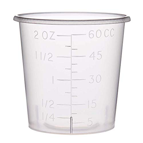 Two Ounce Measuring Cups with Rounded Brims for Medicine Dispensing or Mixing or Portioning (50)