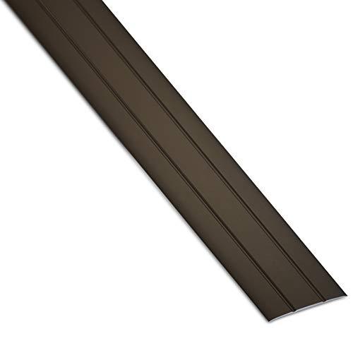 SOTECH 1 Stück Aluminium Übergangsprofil Cross selbstklebend Übergangsschiene Alu flach Boden-Leiste mit Breite 37 mm Ausgleichsprofil Bronze eloxiert Abdeckleiste 100 cm Bodenprofil Schiene