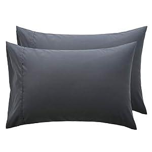 Bedsure Funda Almohada 70x40 cm de Microfibra - Juego de 2 Fundas Almohadas 40x70 Transpirable Suave Antiarrugas - Gris Oscuro, sin Cremallera,2 Unidades