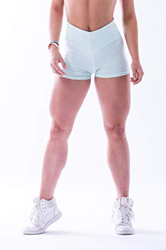 Nebbia, High Waist Ns Shorts, high Waist Cut, Extended Cut of Shorts, Waist Belt in The Shape of Letter V, extra fine Material, Nice to Touch, Color Mint, Size M