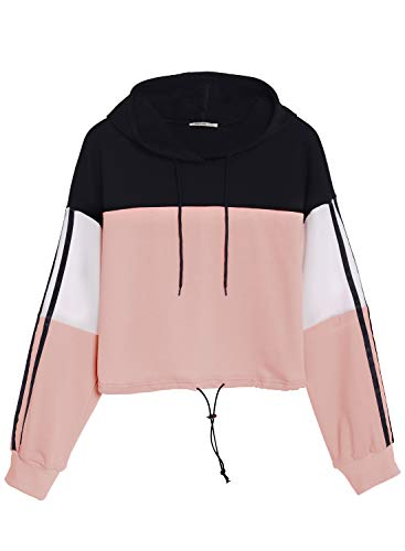 Zaprada Women's Long Sleeve Cute Colorblock Cropped Hoodie Pullover Sweatshirt Crop Tops for Teen Girls Pink