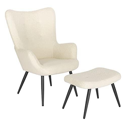 WOLTU Relaxsessel Lehnstühle Vintager Retro Sessel Polstersessel mit Hocker Fernsehsessel Ohrensessel Sherpa Fleece Cremeweiß SKS29cm