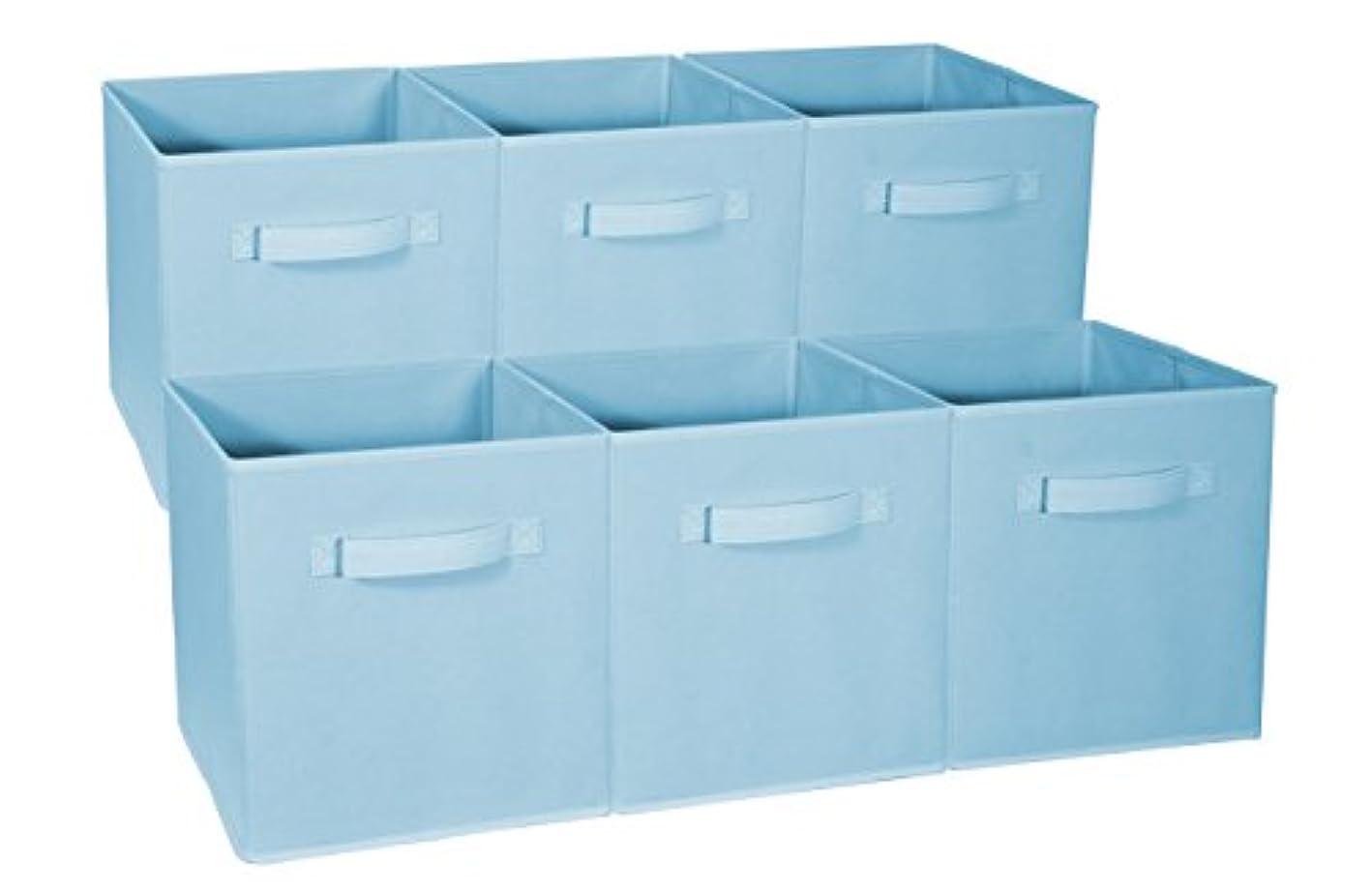 Sorbus Foldable Storage Cube Basket Bin - Great for Nursery, Playroom, Closet, Home Organization (Pastel Blue, 6 Pack)