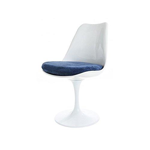 Silla Estilo Tulip Azul Blanco Y Lujoso Eero Saarinen