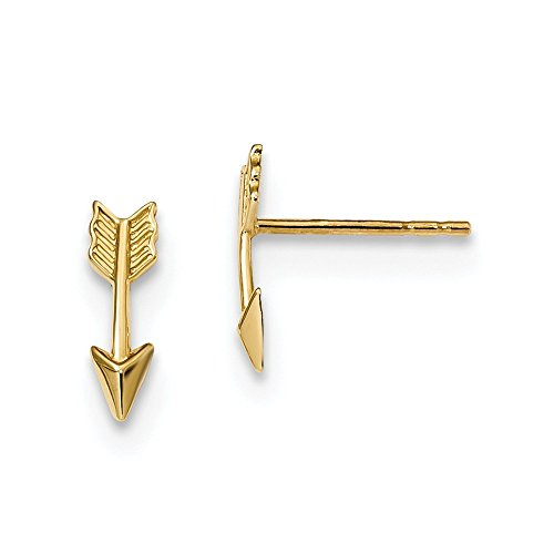 14k Yellow Gold Arrow Post Stud Earrings Ball Button Sport Fine Jewellery For Women Mothers Day Gifts For Her