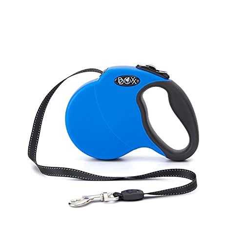 DDOXX Roll-Leine reflektierend, ausziehbar | viele Farben & Größen | für kleine & große Hunde | Gurt-Leine Hundeleine einziehbar Welpe Katze | Hundeleinen Zubehör Hund | XS, 3 m, bis 8 kg, Blau
