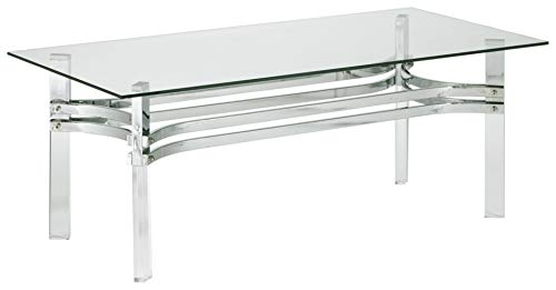 Signature Design by Ashley - Braddoni Contemporary Rectangular Cocktail Table, Chrome Finish