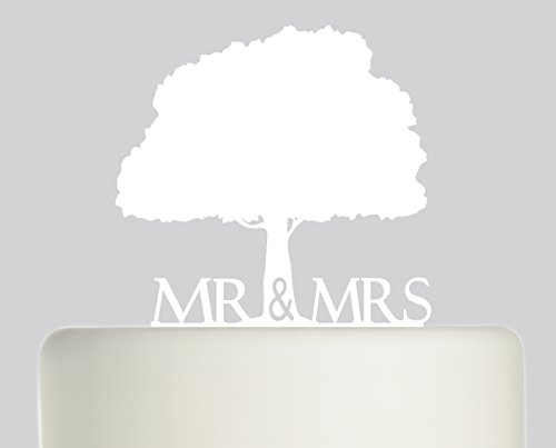 Bride And Groom Mr & Mrs Oak Tree Wedding Cake Topper Acrylic Cake Topper White Acrylic