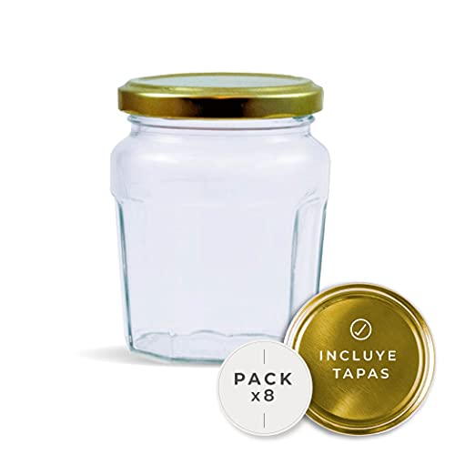 Rc Ocio Tarros de Cristal para conservas con Tapa de Mermelada frascos de Vidrio pequeños de Cocina para Mermelada conservas Cierre hermético Botes de 230 Ml Pack 8 Unidades