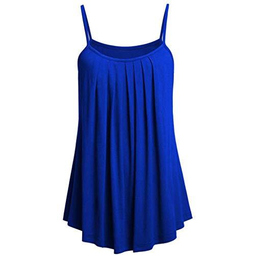 TOWAKM Damen Ärmellose Chiffon Bluse Sommer Spaghetti Top V-Ausschnitt Elegant Weste Hemdbluse Doppelschicht fit T Shirt Oberteile(Blau,S)