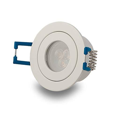 LED Einbaustrahler Weiß rund 3W warmweiß IP-44 230V – GU11 Strahler für Bad und Außen-Bereich – Ø40mm Bohrloch Badezimmer Sauna Dusche Einbau-Spot Einbauleuchte