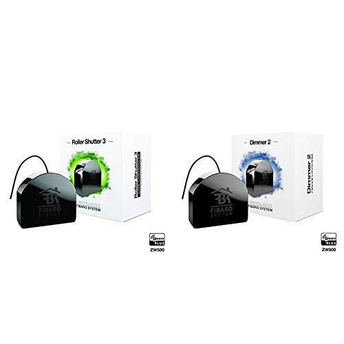 Fibaro Roller Shutter 3Controlador de radio con tecnología Z-Wave 5, Negro + FGD-212 Dimmer 2, Negro