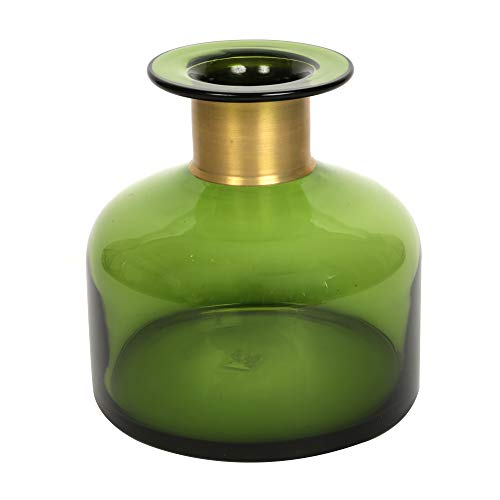 ORNAMI groene glazen vaas voor bloemen en huisdecoratie, moderne vaas met gouden rand