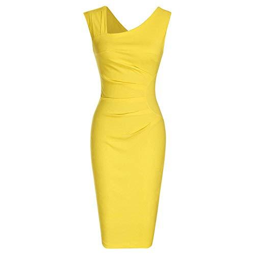 Frauen Retro Sleeveless Slim Business Bleistift Kleid Damen Vintage Solid Color Mantel Cocktail Party Kleider C1 XL