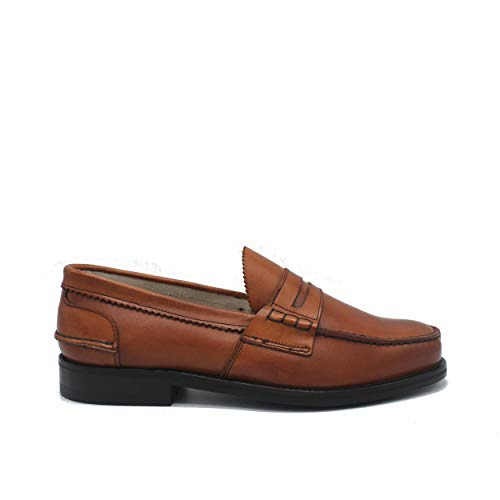 Saxone Of Scotland Penny Loafer Chestnut Leather/Chestnut / 41.5