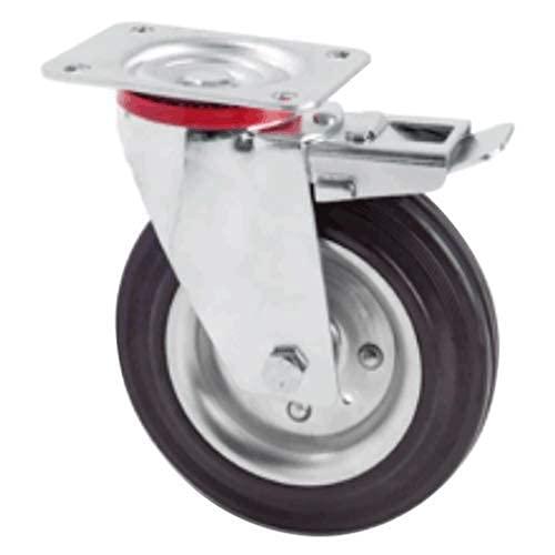 Ruote piroettanti industriali rotelle Piene Girevoli con Piastra per Carrelli Banchi da Lavoro Mobili (Ruota Con Freno, 200 mm)