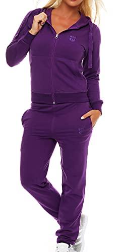 Gennadi Hoppe Damen Jogginganzug Trainingsanzug Sportanzug, lila,M