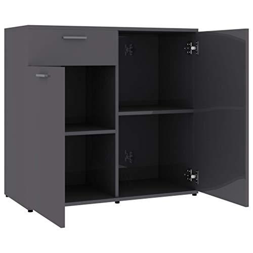 GOTOTOP Sideboard Hochglanz-Grau mit 2 Türen und 1 Schublade bietet ausreichend Stauraum für Bücher, Multimedia-Geräte und andere Gegenstände 80x36x75 cm Spanplatte