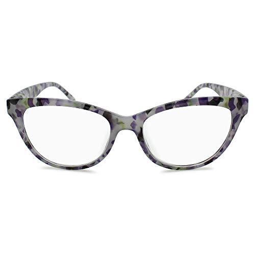 Cat Eye Glasses Frame Reading Glasses for Women Tortoise Shell Leopard Glasses   Grey Lavender, 3.00