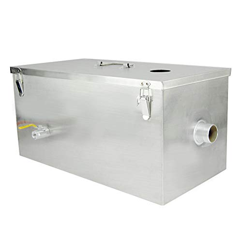 XuSha Commercial Grease Trap 13GPM Interceptor Stainless Steel for Restaurant Kitchen(Top Inlet)