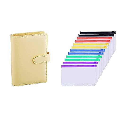 Antner A6 PU Leather Notebook Binder (Yellow) Bundle   12 Pieces Multicolor Zipper A6 Binder Pockets