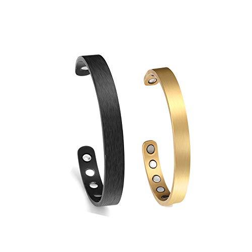 Zysta Personalisiert Gravur - Titan ArmschmuckDamen Herren Magnetarmband Offener Armreif Armspange mit Gravur Pärchen Geschenke (Partnerarmbänder-schwarz+Gold)
