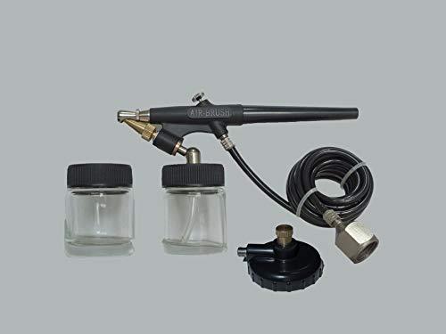 Pistola de Aerografo ABAC G-520-2 vidrios para pintura - Manguera de 1,5 m - Adaptador late de aire