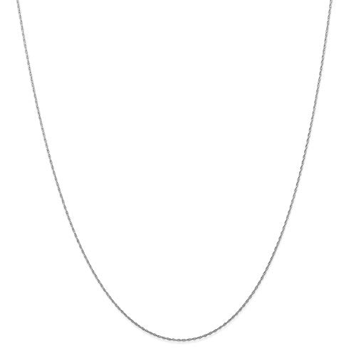 14k White Gold .5 Mm Cable Link Rope Chain Necklace 24 Inch Pendant Charm Carded Fine Jewelry For Women Gifts For Her