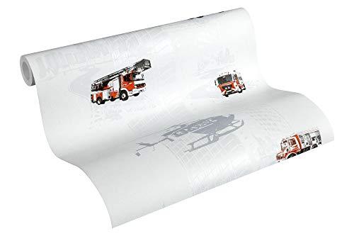 A.S. Création PVC-freie Vliestapete Little Stars Tapete mit Feuerwehr Autos 10,05 m x 0,53 m grau rot schwarz Made in Germany 358131 35813-1