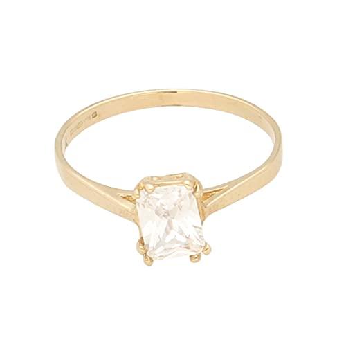 Anillo solitario de oro amarillo de 9 quilates con diamantes de imitación de talla esmeralda (tamaño R 1/2) 5 x 7 mm | Anillo de lujo para mujer