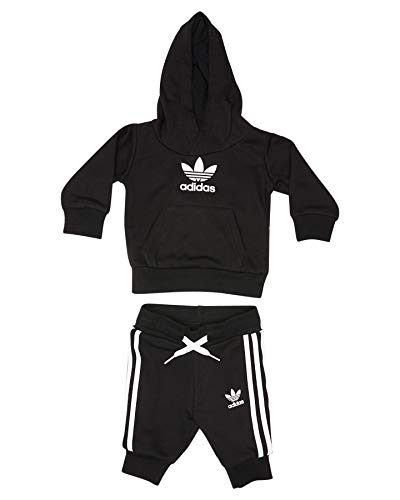 adidas Kinder Trefoil Hoodie Sweatshirt, top:Black/White Bottom:Black/White, 6-9M