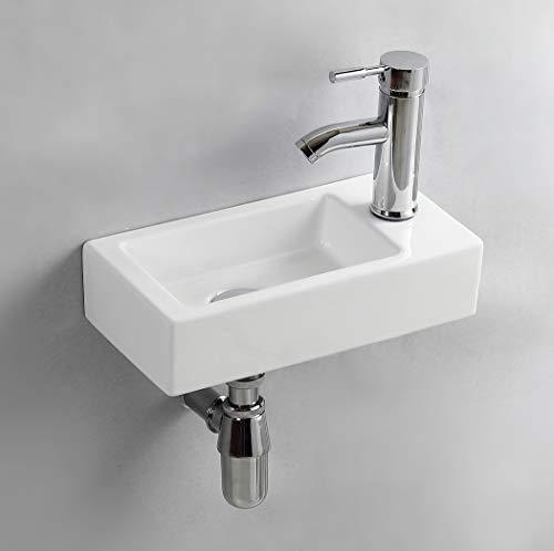 Handwaschbecken Klein, Gimify Mini Waschbecken WC zur Wandmontage aus Keramik Bad, Rechte Hand