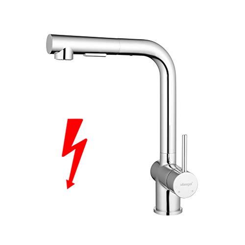 ubeegol Wasserhahn Küche Niederdruck Armatur 360° drehbar Küchenarmatur Ausziehbar Spültischarmatur mit Brause Mischbatterie Spüle Niederdruckarmatur Messing Chrom