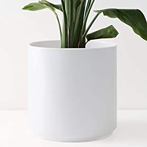 Peach & Pebble 12″ Ceramic Planter (15″, 12″, 10″, 8″ or 7″) – Large White Plant Pot, Hand Glazed Indoor Flower Pot for All Indoor Plants (White, Black, Melon or Gold) – White, 12 inch
