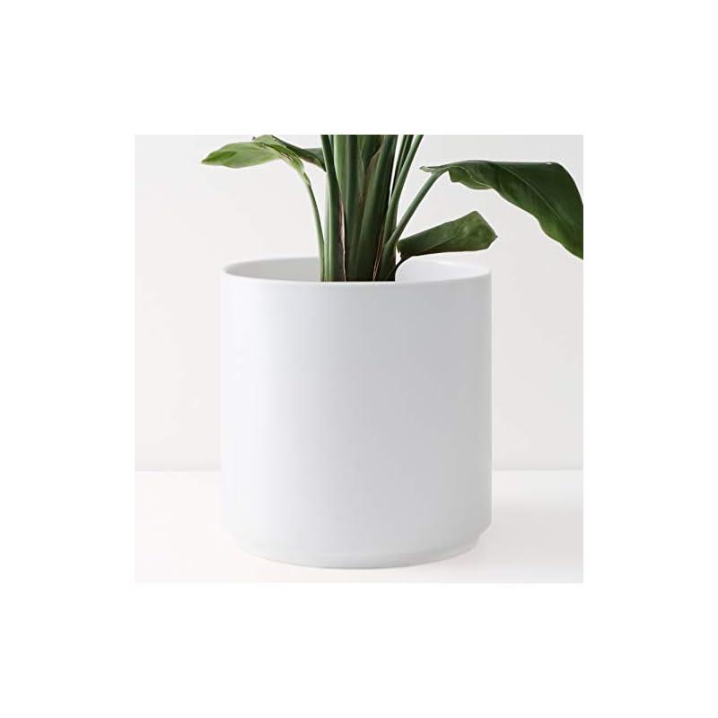 "silk flower arrangements peach & pebble 12"" ceramic planter (15"", 12"", 10"", 8"" or 7"") - large white plant pot, hand glazed indoor flower pot for all indoor plants (white, black, melon or gold) - white, 12 inch"