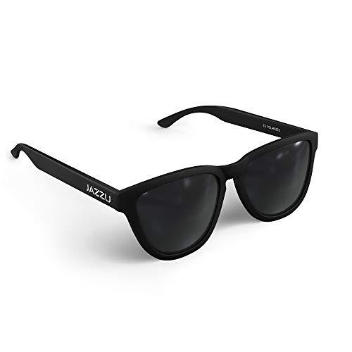 JAZZU - Gafas de Sol Polarizadas Unisex Deportivas Cuadradas, Efecto Espejo y Protección UV400 - Hombre y Mujer (Negro)
