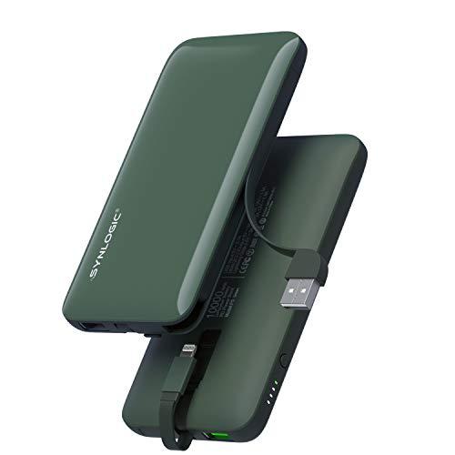 SYNLOGIC - Batería Externa de 1000 mAh, Cargador PD portátil de 18 W, Cable MFi Lightning Integrado + USB (QC 3.0) de Carga rápida para iPhone 11 XS MAX X 8 AirPods Pro, Samsung, Huawei, Xiaomi, etc.