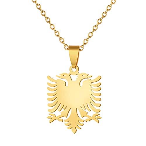 Collar de personalidad, personalidad Acero inoxidable Albania Collar de águila de doble cabeza Colgante Fiesta de motocicleta Cadena chapada en oro Joyería animal