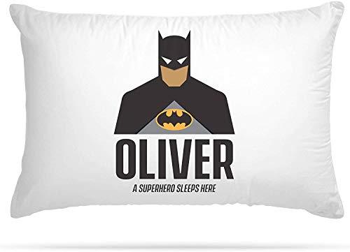 Federa per cuscino personalizzabile con 15 diversi supereroi, con stampa di qualsiasi nome, regalo per la camera dei bambini, decorazione per bambini e ragazze (Spider-Man), Batman